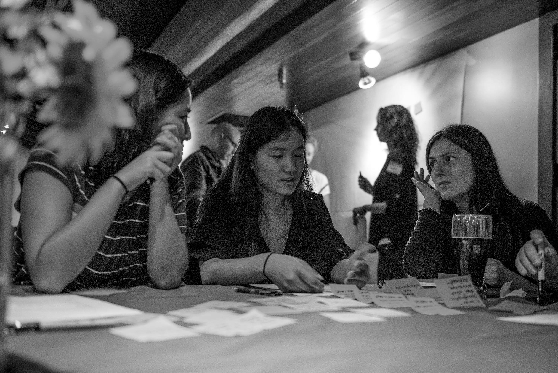 UX Speakeasy volunteers brainstorming