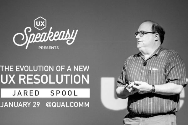Jared Spool presenting at the opening of the 2019 UX Speakeasy Speaker Series